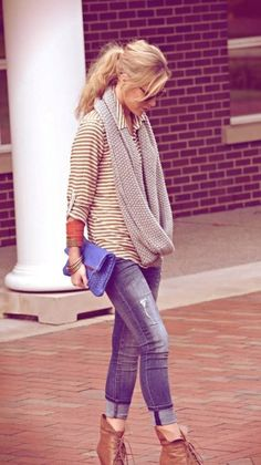 Cuffed Jeans, Booties, Stripes With Long Infinity Scarf