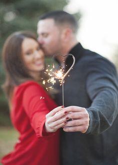 Heart sparkler burning... in engagement shoot