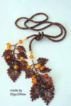 Autumn Lariat Necklace Beaded Crochet por Olgaterranova en Etsy