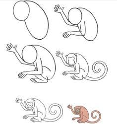 Instrução para desenho infantil - Macaco!