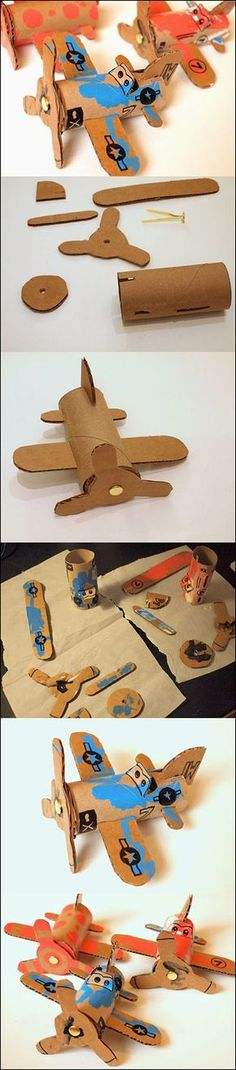 Wonderful DIY Toilet Roll Airplanes is part of Cardboard crafts Airplane - Toilet roll airplanes idea ! Most of children love cars, planes, trucks, trains erm basically anything that moves You can try to foster his love Kids Crafts, Toddler Crafts, Projects For Kids, Diy For Kids, Toilet Paper Roll Crafts, Cardboard Crafts, Cardboard Airplane, Cardboard Playhouse, Cardboard Furniture