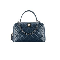 Authentic Chanel Bowling Bag Blue Item A92238 Y60767 2B561 Made in France *** Want additional info? Click on the image.