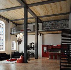 Loft office w/ living space below.