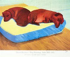 David Hockney: Dog Paintings, Salt Mill was sold by Bonhams, Los Angeles, on Sunday, February David Hockney Artwork, Arte Dachshund, Pop Art Movement, Dog Paintings, Contemporary Paintings, Exhibition Poster, Animal Projects, Funny Art, Dog Art