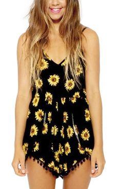 Sunflowers Printing Black V-neck Spaghetti Strap Cotton Jumpsuit