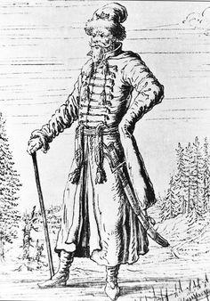 costume of service class man, XVI-XVII century. Russia