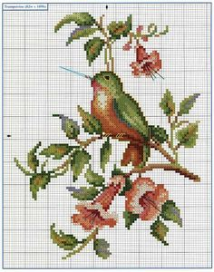 Cross stich sitting hummingbird