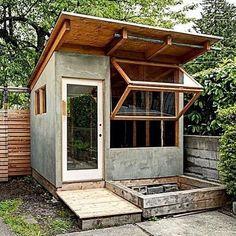 She shed or granny pod or office nook. It's super cool. Backyard Studio, Backyard Retreat, Art Shed, Studio Shed, Tiny House Nation, Wood Shed, Tiny House Movement, Tiny House Design, Tiny House On Wheels