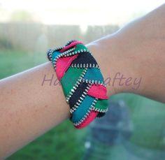 Plaited Zip Cuff bracelet - multicolour - zipper craft