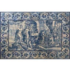 18th Century Portuguese Blue on White Tile Panel, Works of Hercules | From a unique collection of antique and modern decorative art at https://www.1stdibs.com/furniture/wall-decorations/decorative-art/