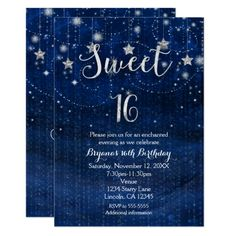 Sweet 16 Starry Night Silver & Blue Invitation