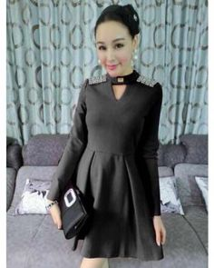 DR000760 Epaulet beading winter hollow fashion long sleeve dress