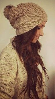love this, not sure if i could pull of the pompom thou ... #Beanies #Winter #Fashion