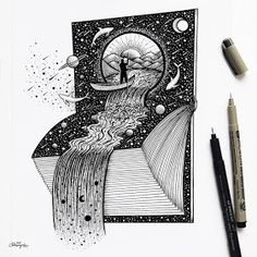 Fantasy and Surrealism in Ink Illustrations Space Waterfall Book by Meni Chatzipanagiotou Space Drawings, Ink Pen Drawings, Art Drawings Sketches, Ink Illustrations, Cute Illustration, Amazing Drawings, Easy Drawings, Surreal Tattoo, Drawings For Boyfriend