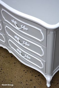 DIY Dresser Makeover French Provincial - Soft Gray and White dresser makeover…