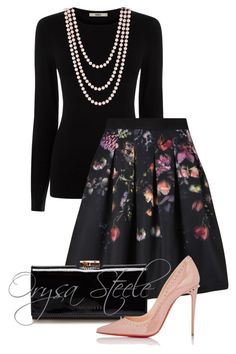 """Lovely"" by orysa ❤ liked on Polyvore featuring Oasis, Ted Baker, Christian Louboutin and Henri Bendel"