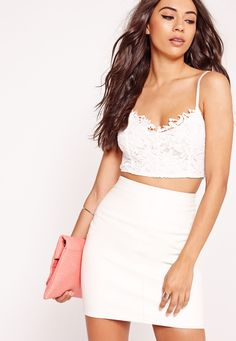 89bea5b5debfc Missguided - Lace Overlay Bralet White Cami Crop Top