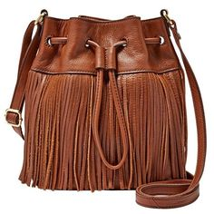 Women's Fossil 'Jules' Leather Fringe Bucket Bag ($148) ❤ liked on Polyvore featuring bags, handbags, shoulder bags, brown, leather shoulder handbags, leather bucket bag, brown leather shoulder bag, bucket bags and brown leather handbags