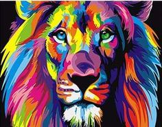 Watercolor Lion Pop Art Posters And Prints Abstract Animals Canvas Art – Faberge Galore Oil Painting Pictures, Canvas Pictures, Easy Paintings, Pictures To Paint, Animal Paintings, Wall Art Pictures, Oil Paintings, Tiger Painting, Oil Painting On Canvas