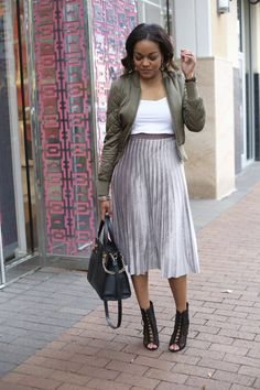 how to wear velvet in spring, velvet midi skirt, pleated midi skirt, spring transitional piece, dallas blogger, army green bomber, zara lace up booties, dallas blogger