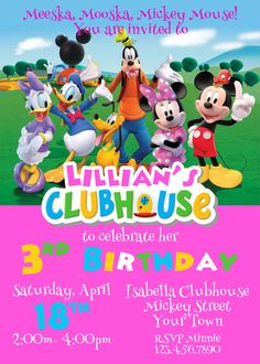 Minnie Mouse Invitation Mickey Mouse Clubhouse by CutePixels Mickey Mouse Clubhouse Invitations, Mickey Mouse Clubhouse Party, Baby First Birthday, Friend Birthday, Mickey Mouse And Friends, Minnie Mouse, Birthday Invitations, Invites, Dani