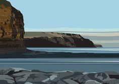 Cowbar Nab to Boulby, from Staithes Breakwater. www.ianmitchellart.com