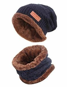 a648240fe06 MissShorthair Winter Beanie Hat Scarf Set Slouch Warm Knit Hat Neck Warmer  for M  fashion