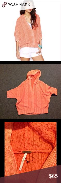 Free People Washed Out Hoodie Cardi Sweater New Nice FP Cardi sweater. Washed out orange oversized style. Marked size S but will also fit a Med or Large. Brand new - does not have the actual price but the extra snap is still attached to the tag. Perfect for Fall! 🍂🍁🌾 Free People Sweaters Cardigans
