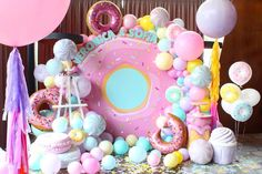 Candy Theme Birthday Party, Donut Birthday Parties, Girl Birthday Themes, Donut Party, Candy Party, Birthday Balloons, Mermaid Party Favors, Sprinkle Party, Birthday Party Decorations