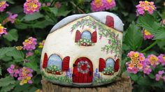 Painted Fairy Cottage Garden rock Miniature House by MyPaintedSwan
