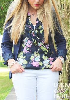 Navy Floral // Living In Color Print