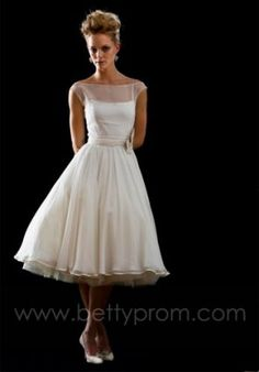 Tea Length Wedding Dress.  Love this for the rehersal