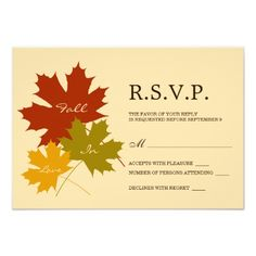 Fall Wedding RSVP Card With Leaves Illustration Personalized Announcements