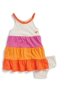 Roxy 'Sunset Tide' Tiered Dress & Bloomers (Baby Girls) available at #Nordstrom