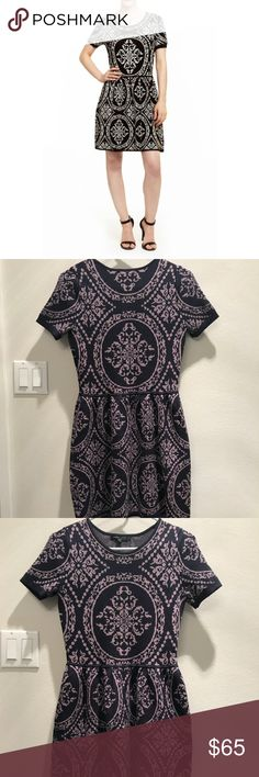 """Romeo and Juliet Couture sweater dress Perfect for a winter/spring day! Can be dressed up for work or down for a day shopping with friends! I wore this twice. Excellent used condition. No rips or stains. The pattern is a very pale purple that's hard to pick up in photos. Length 33.5"""", bust 15"""" flat. There's spandex in it for a bit of stretch. Romeo & Juliet Couture Dresses Midi"""
