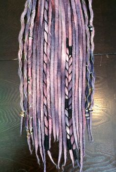 "10 Double Ended Wool Dreadlock Extensions// ""Crushed Berries"" Accent Set // Hand dyed // Hemp Wrapped"