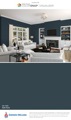 I found this color with ColorSnap® Visualizer for iPhone by Sherwin-Williams: Gale Force (SW 7605).