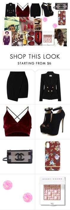 """""""Charity event with Ashton"""" by larryandtarillforeverr14 ❤ liked on Polyvore featuring Miss Selfridge, Pierre Balmain, WithChic, Chanel, Richmond & Finch, Bobbi Brown Cosmetics, Moschino and Ashton Michael"""