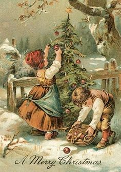A Merry Christmas. Two children trim an outdoor tree with candles and apples.