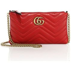 Gucci Quilted Leather Chain Wristlet ($795) ❤ liked on Polyvore featuring bags, handbags, clutches, apparel & accessories, chain handbags, handbag purse, gucci handbags, gucci clutches and red purse