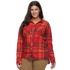 Plus Size Columbia Wildscape Flannel Plaid Roll-Tab Shirt, Women's, Size: 2XL, Pink Other