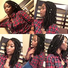 Shoulder length bob box braids protective style