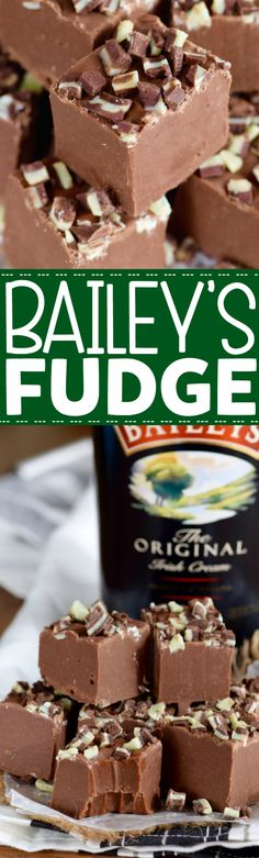 Bailey's Fudge is easy to make, tastes absolutely delicious, and is the perfect amount of rich amazingness!This Bailey's Fudge is easy to make, tastes absolutely delicious, and is the perfect amount of rich amazingness! Fudge Recipes, Candy Recipes, Sweet Recipes, Baking Recipes, Holiday Recipes, Cookie Recipes, Dessert Recipes, Baileys Recipes, Christmas Recipes