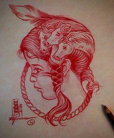 Native American Wolf, Native American Tattoos, Tattoo Studio, Red Draw, Becoming A Tattoo Artist, Casual Art, Modern Tattoos, Tattoo Flash Art, Tattoo Illustration