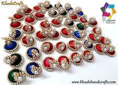 Silk Thread designer jhumkas Silk Thread Jhumkas, Ornament Wreath, Ornaments, Silk Bangles, Thread Jewellery, Bead Kits, Jewelry Making Supplies, Jewelry Stores, Beads