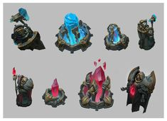 building concepts for league of legends. i like the cartoonish effects used on these buildings.
