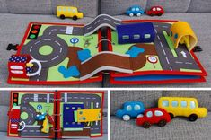 PDF Pattern & tutorial – 2 Quiet book pages: Car and Traffic roads – Jouets Diy Diy Quiet Books, Baby Quiet Book, Felt Quiet Books, Quiet Book Patterns, Quiet Book Templates, Busy Book, Baby Play, Book Pages, Diy Toys