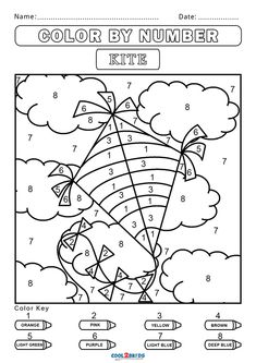 Summer Coloring Pages, Preschool Coloring Pages, Free Printable Coloring Pages, Colouring Pages, Free Coloring, Coloring Worksheets, Color By Number Printable, Printable Numbers, Numbers For Kids