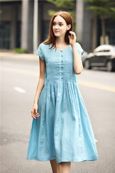 blue linen dress with pintucks and big pockets pale blue
