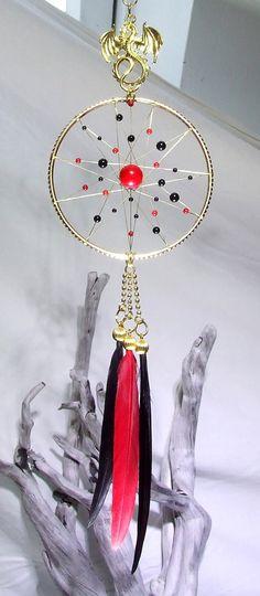 Rouge noir or Home Decor Dragon ornement Dragon Dreamcatcher